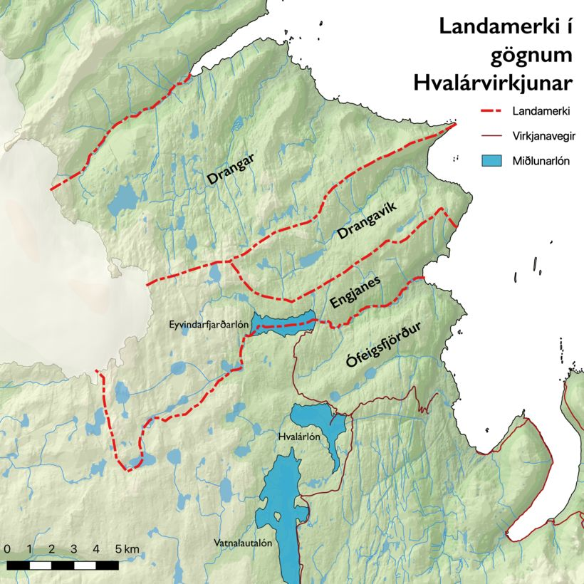 Landamerkjagrunnur sem notaður hefur verið við undirbúning Hvalárvirkjunnar.