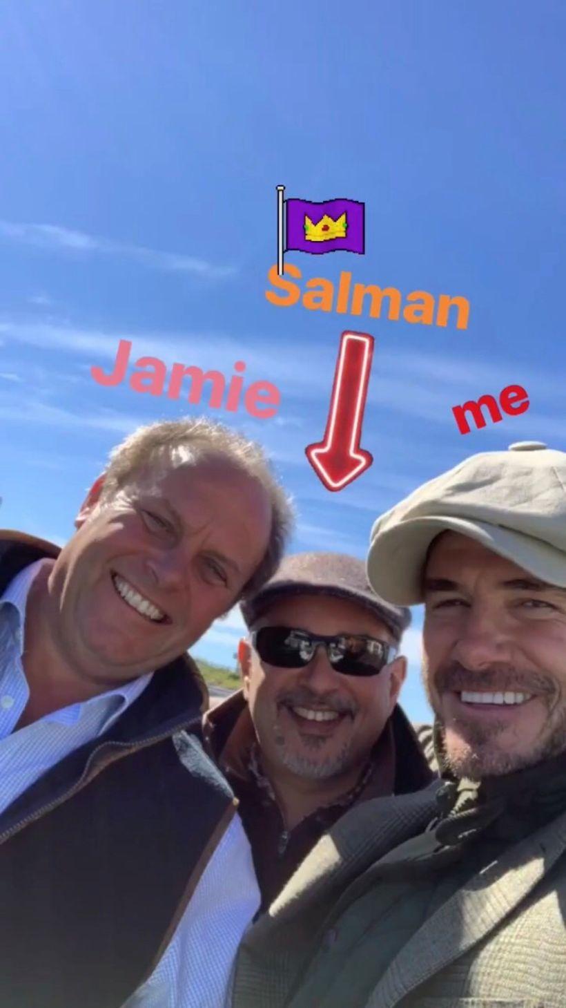 Beckham ásamt Salman og Jamie.