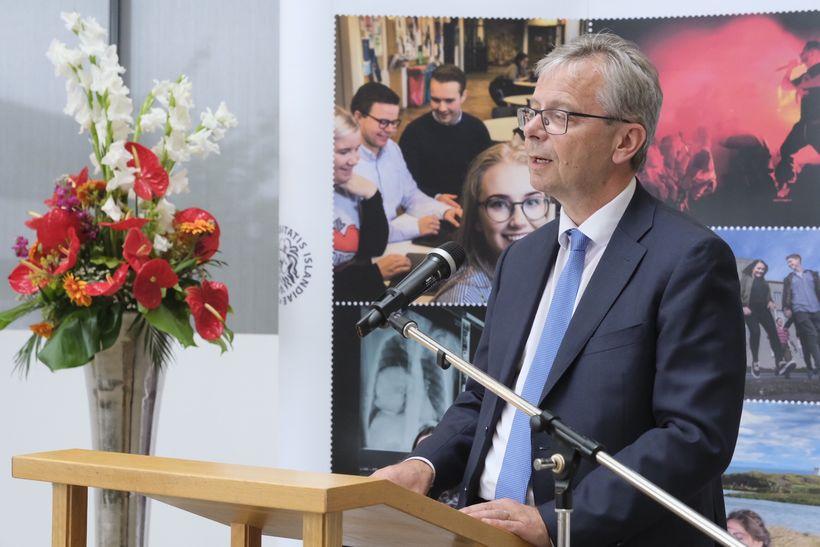 Jón Atli Benediktsson, rektor HÍ, við athöfnina í dag.