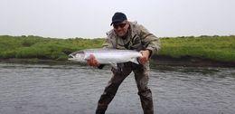 Smári Rúnar Þorvaldsson með vænan fisk úr Skiphyl í Hítará.