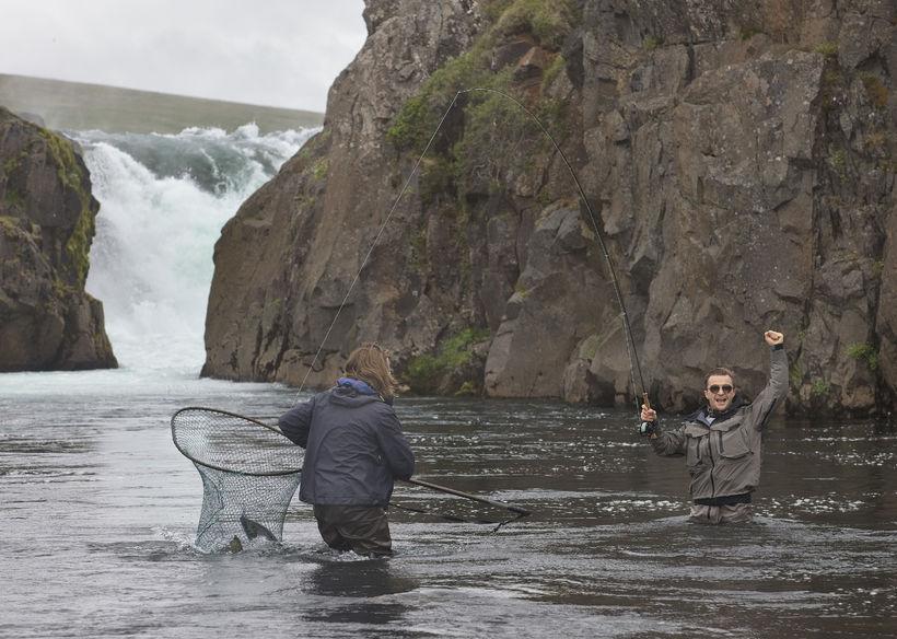 Sveinn Björnsson leiðsögumaður hefur háfað 76 sentímetra hrygnu hjá George ...