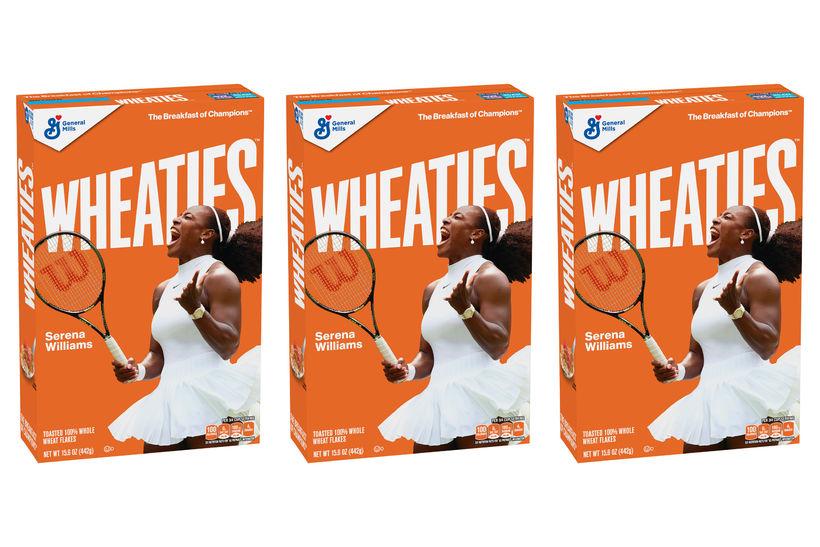 Tenniskonan Serena Williams prýðir framhlið Wheaties-morgunkornsins.