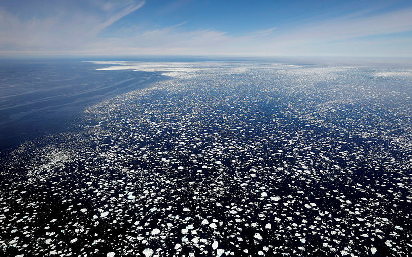 The pack ice, viewed from the aircraft.