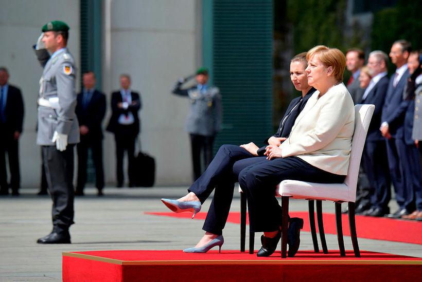 Angela Merkel og Mette Frederiksen létu fara vel um sig …