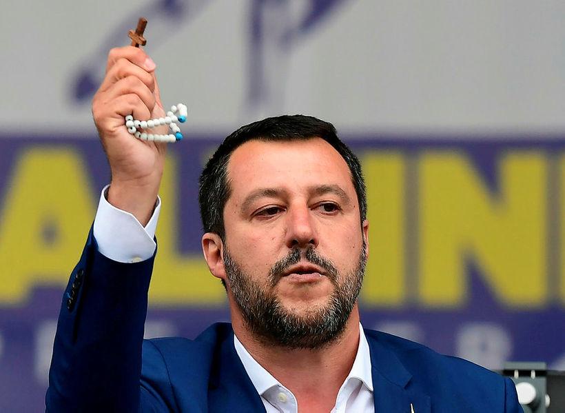Matteo Salvini á kosningafundi fyrir Evrópuþingkosningarnar í vor.