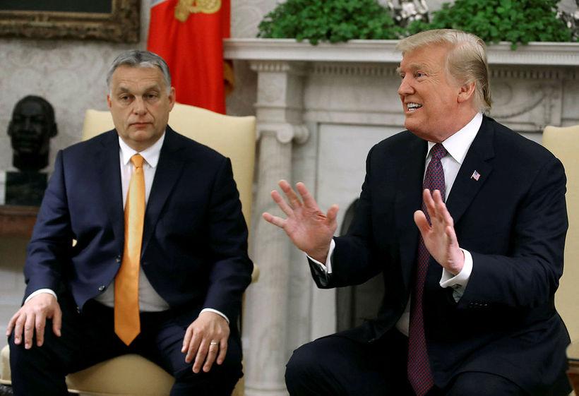 Forsætisráðherra Ungverjalands, Viktor Orbán, ásamt forseta Bandaríkjanna, Donald Trump, í ...