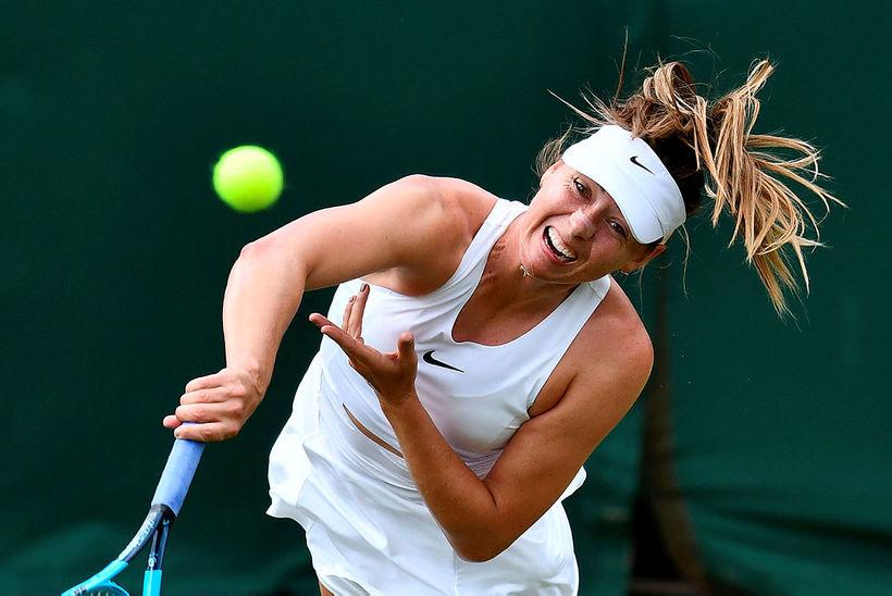 Maria Sharapova á Wimbledon-mótinu í júlí.