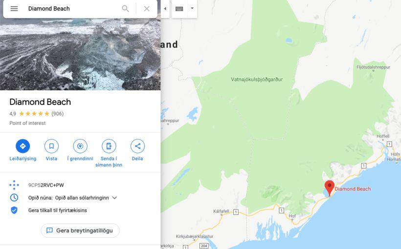 Google Maps kallar þetta Diamond Beach en Íslendingar kalla þetta …