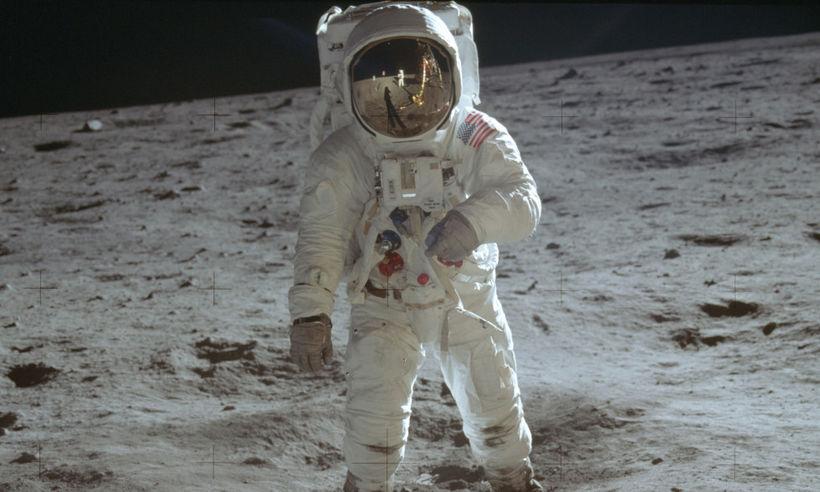 Buzz Aldrin á tunglinu 20. júlí 1969. Það er ekki ...