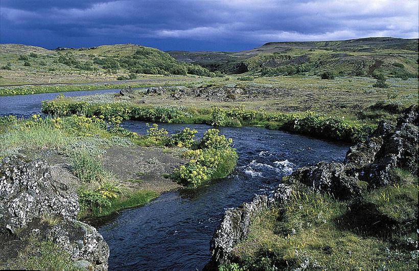 Í Þjórsárdal. Rauðá rennur í sveigum neðan við fornbýlið Stöng
