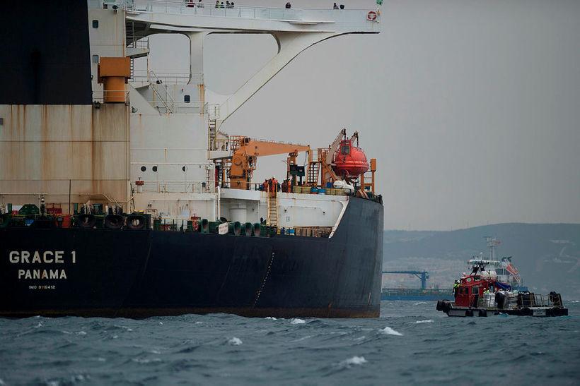 Flutningaskipið Grace 1 er kyrrsett við Gíbraltarhöfða.