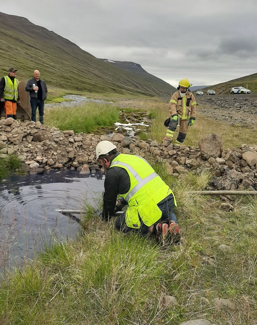 Farmers and construction workers built a dam to limit contamination ...