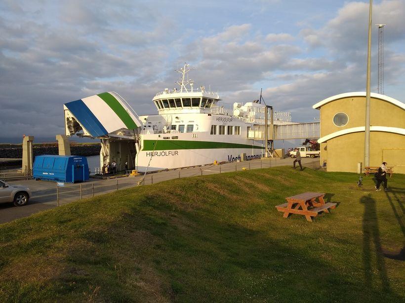 The new Herjólfur in Landeyjahöfn harbor last night.