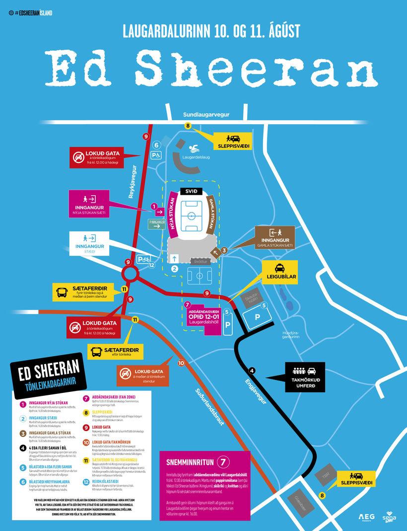 Laugardalurinn verður undirlagður vegna tónleika Ed Sheeran.