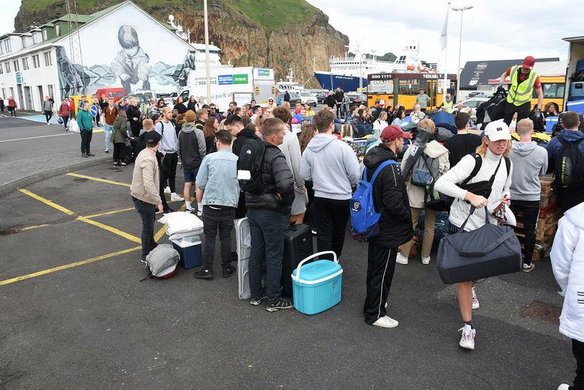 Þjóðhátíð guests arriving in Vestmannaeyjar islands yesterday morning.