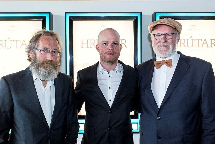 Actor Sigurður Sigurjónsson, Grímur Hákonarson and actor Theodór Júlíusson, when …