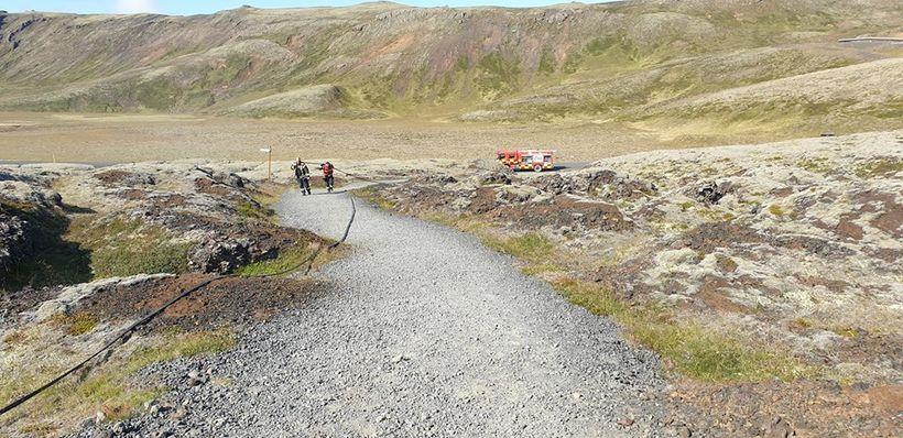 Gróður og jarðvegur er töluvert þurr á Nesjavallaleið og því …