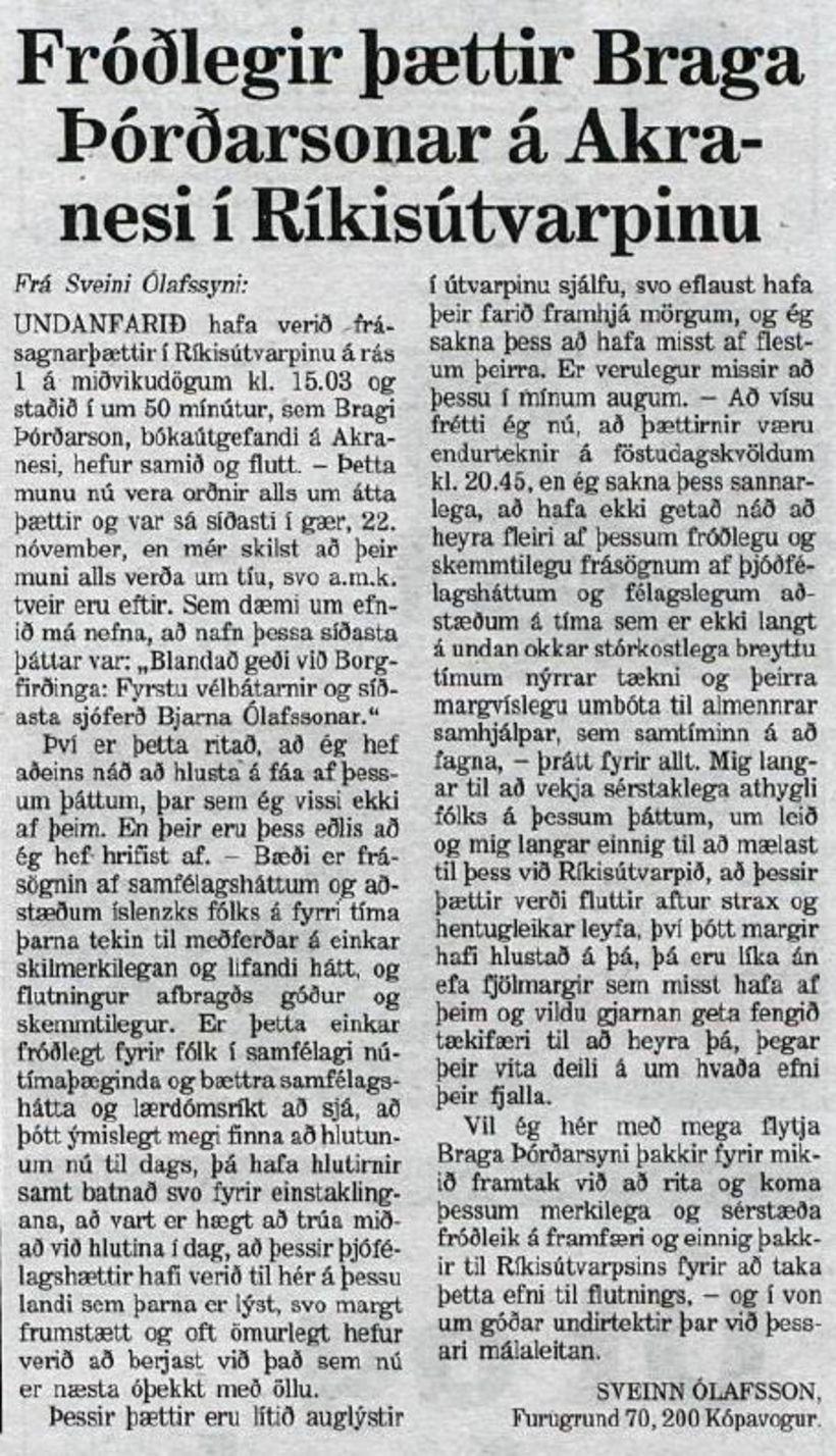 Af þessum Velvakanda úr Morgunblaðinu 29. nóvember 1995 má glöggt …