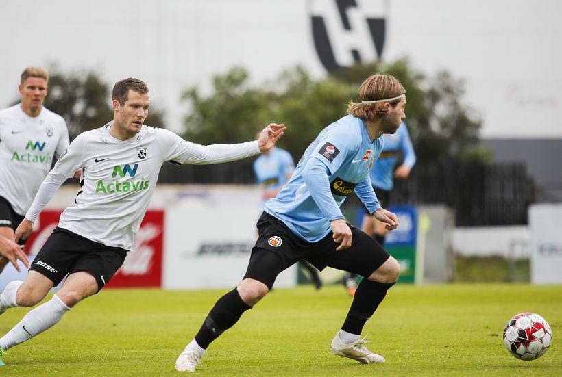 Björn Daníel Sverrisson úr FH og Óskar Örn Hauksson hjá ...