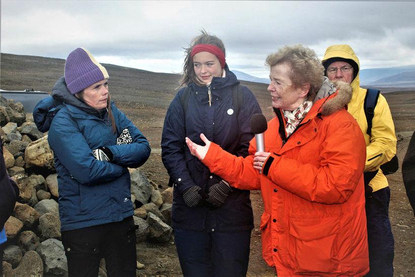 Prime Minister Katrín Jakobsdóttir, left, listens to Mary Robinson, former …
