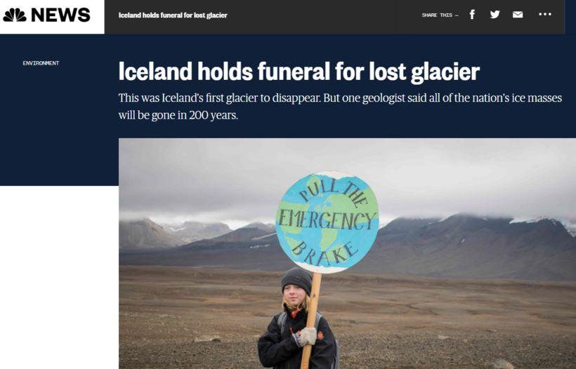 """NBC-fréttastofan talar um """"jarðarför"""" Okjökuls. Flestir fjölmiðlar veita því einnig ..."""