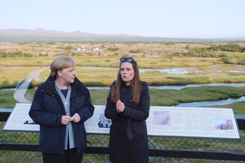 Angela Merkel og Katrín Jakobsdóttir.