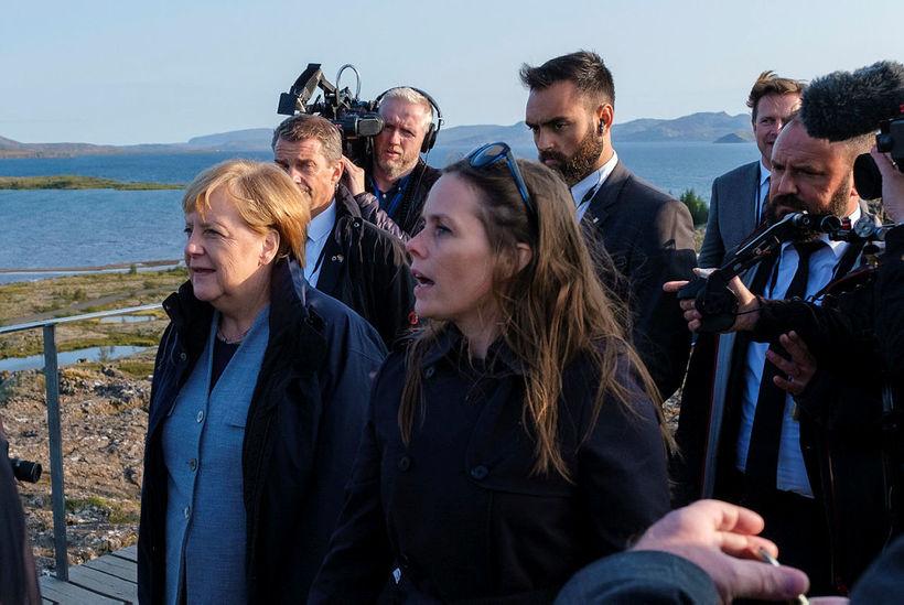 Angela Merkel og Katrín Jakobsdóttir á Þingvöllum í gær.