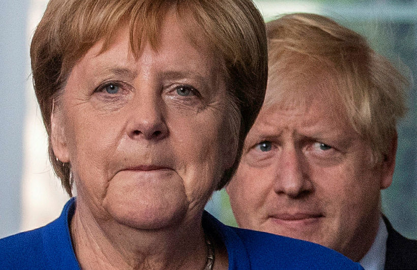 Kanslari Þýskalands, Angela Merkel, og forsætisráðherra Bretlands, Boris Johnson, mættu …