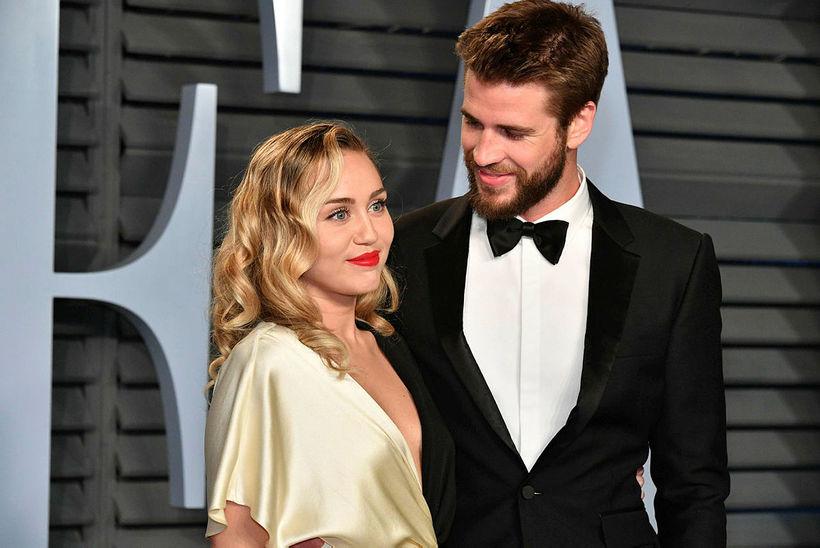 Miley Cyrus og Liam Hemsworth fyrir skilnaðinn.