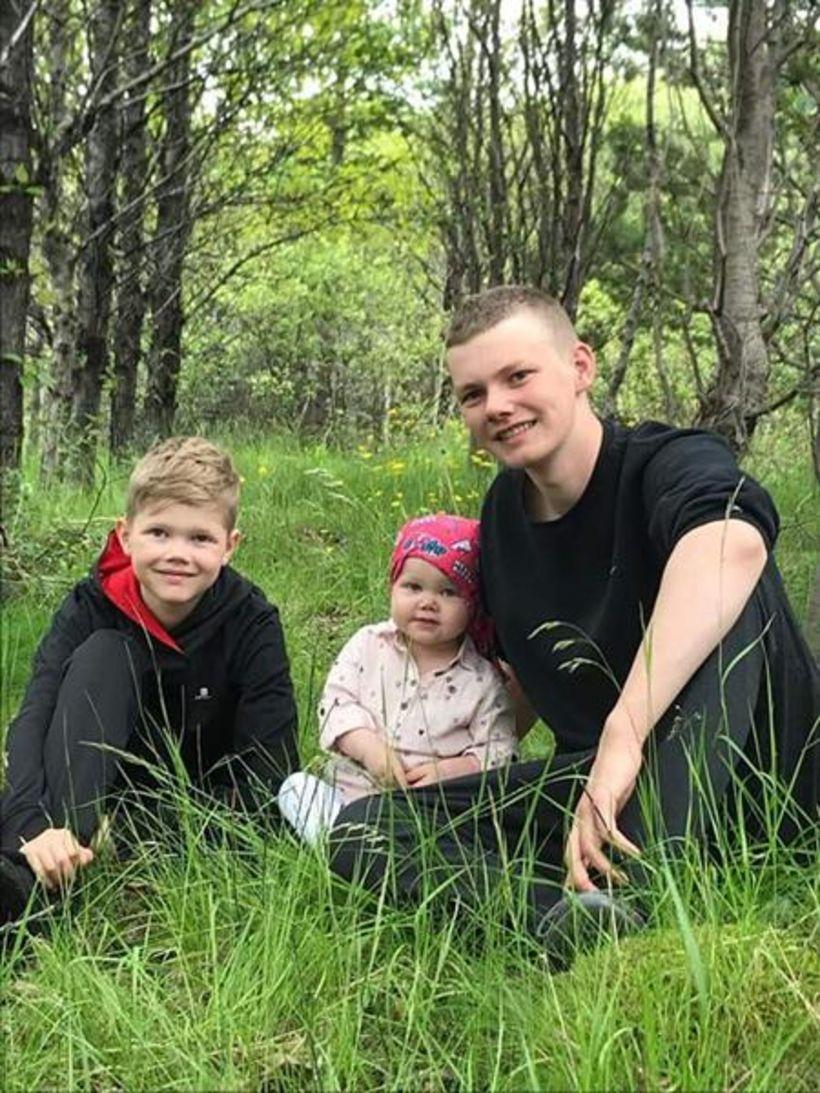 Þeir Arnór Bjarki og Brynjar Bjarmi með Kristínu systur sinni.