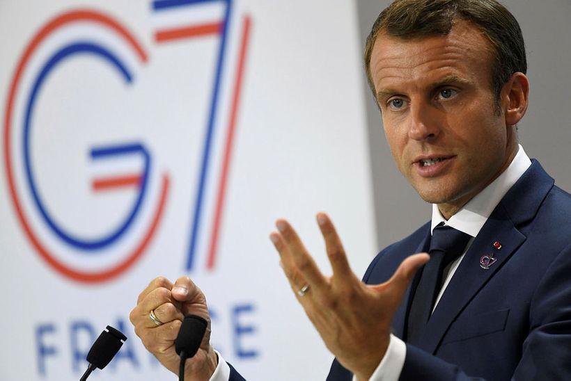 Emmanuel Macron, forseti Frakklands, bauð Javid Zarif, utanríkisráðherra Írans, á ...