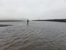 Ármótin í Geirlandsá í gær þegar byrjað var að lækka í ánni.