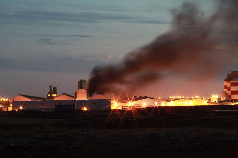 Smoke billowed from the aluminum smelter last night.
