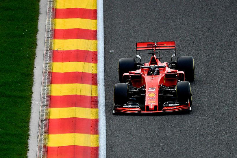 Sebastian Vettel á ferð í belgíska kappakstrinum í Spa-Francorchamps sl. …