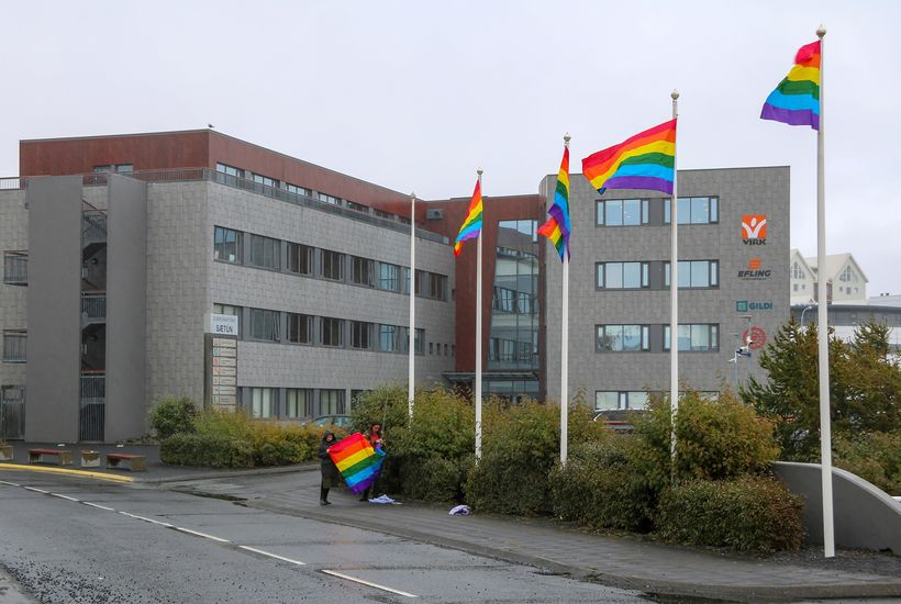 Flags in front of Efling union.
