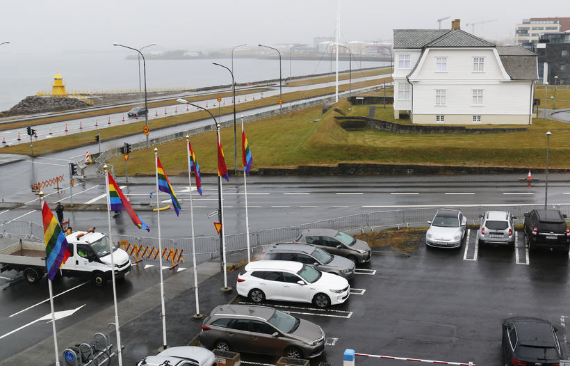 The flags are close to Höfði house.