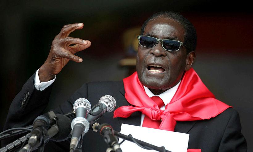 Robert Mugabe á níræðisafmælinu.