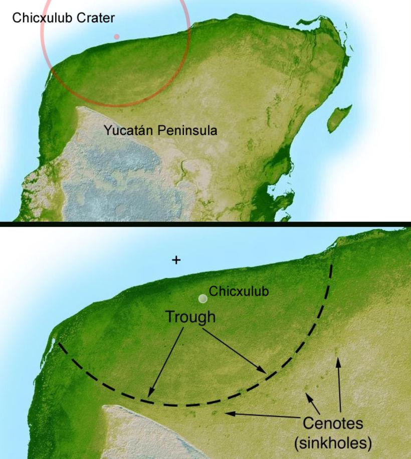 Chicxulub-gígurinn myndaðist á Yucatán-skaga í Mexíkó fyrir 65 milljónum ára.