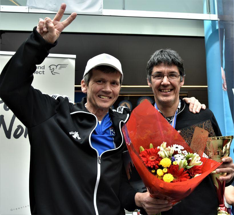 Hrafn Jökulsson ásamt grænlenska skákmeistaranum Steffen Lynge.