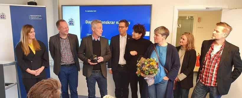 Minister for the Environment Gumundur Ingi Guðbrandsson, left, with the …