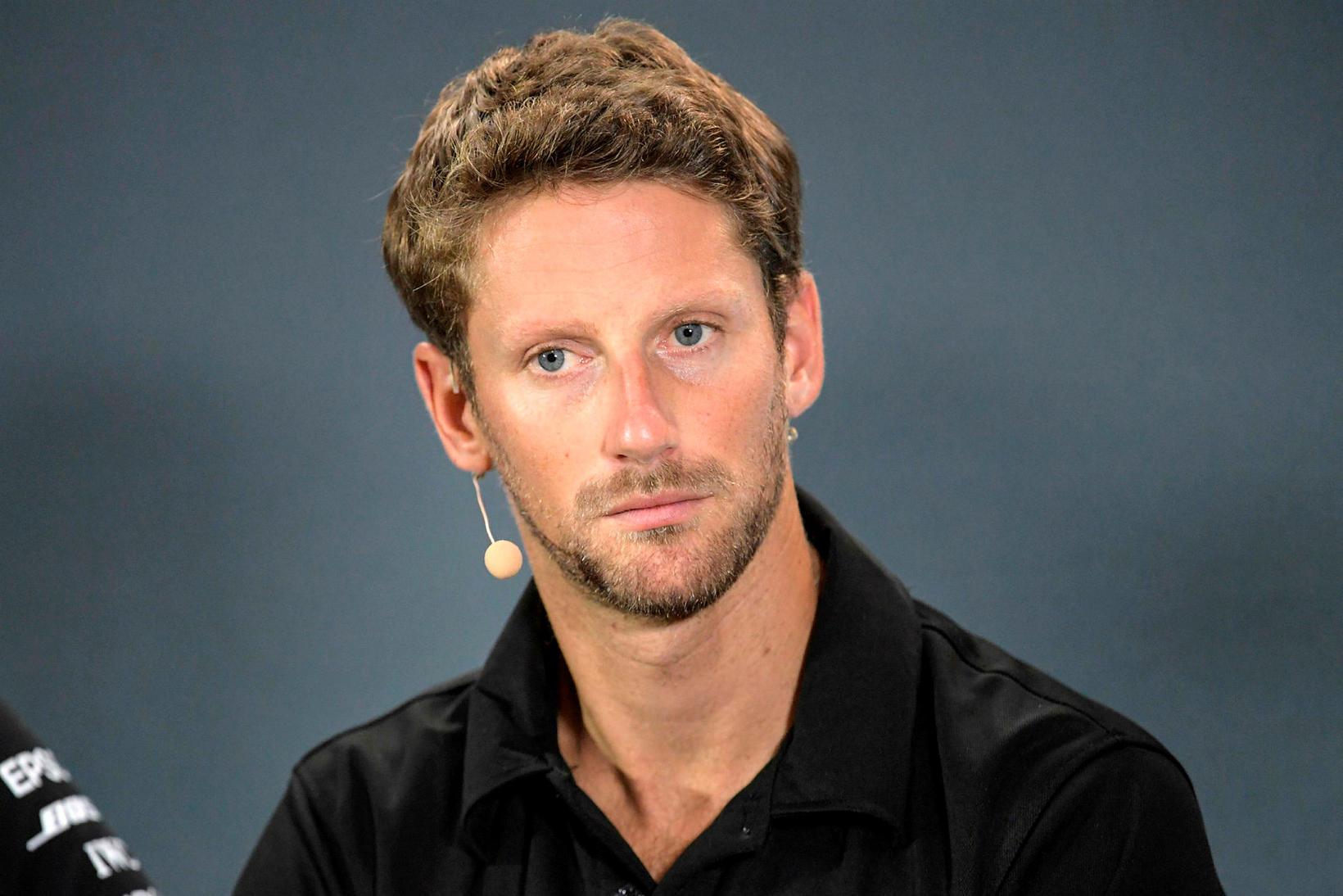 Romain Grosjean á blaðamannafundi í Singapúr í gær.