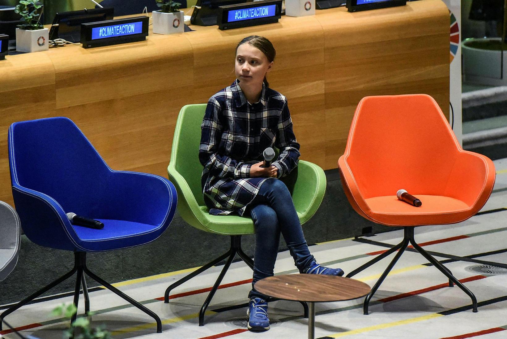 Greta Thunberg ávarpaði fyrsta Ungmennaþing Sameinuðu þjóðanna um loftslagsmál í …