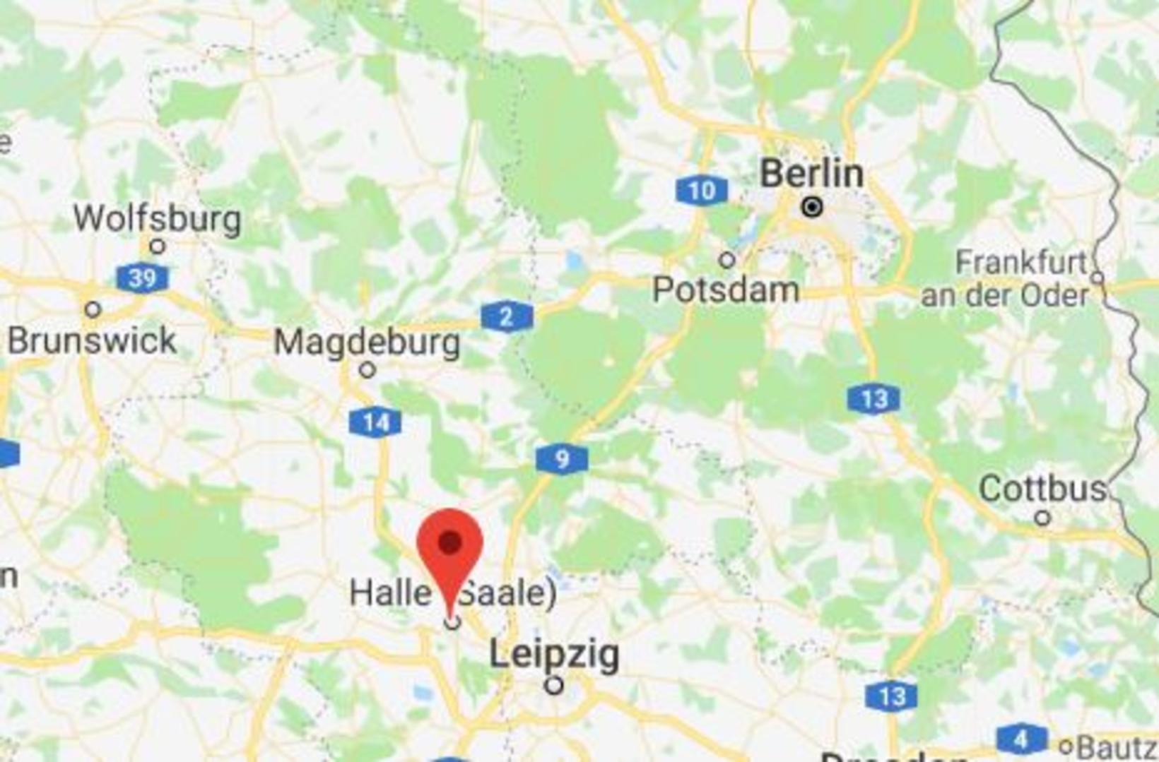 Halle er suðvestan við Berlín.