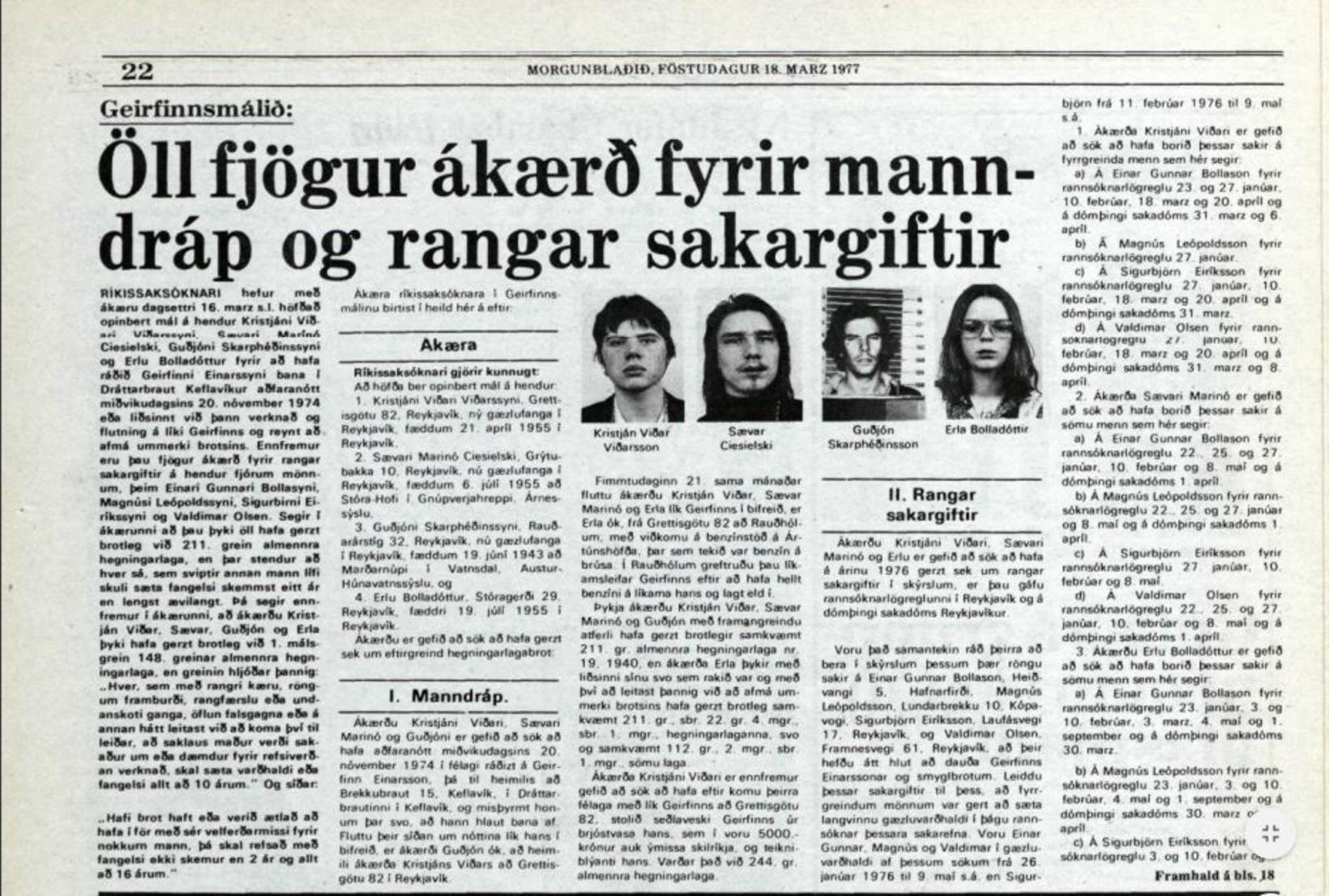 Úr Morgunblaðinu 18. mars 1977.
