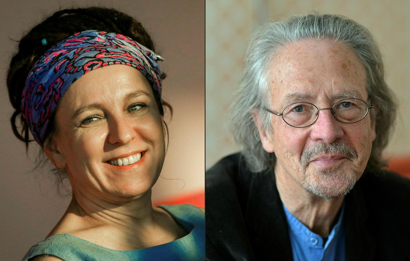 Olga Tokarczuk hlaut verðlaunin fyrir árið 2018, en Peter Hendke …