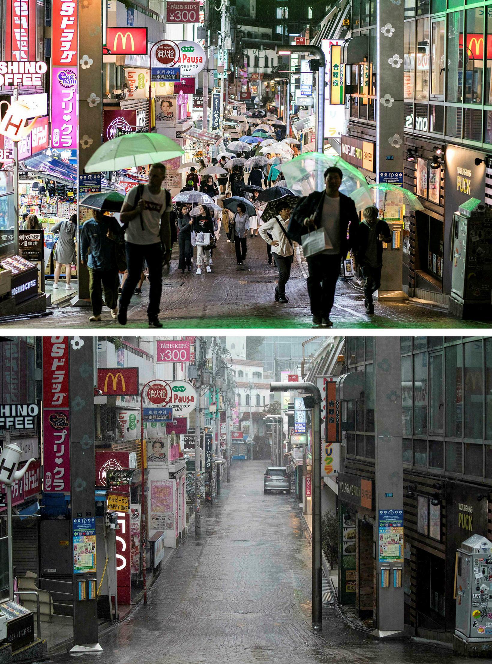 Takeshita-gata í Tókíó er tómleg í dag. Efri myndin af ...