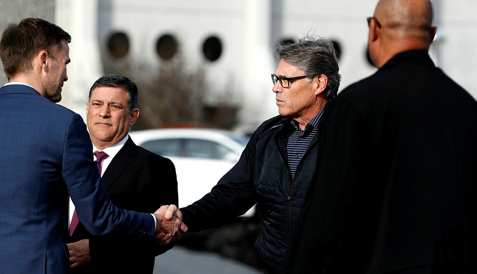 US Secretary of Energy Rick Perry (right), during his visit …