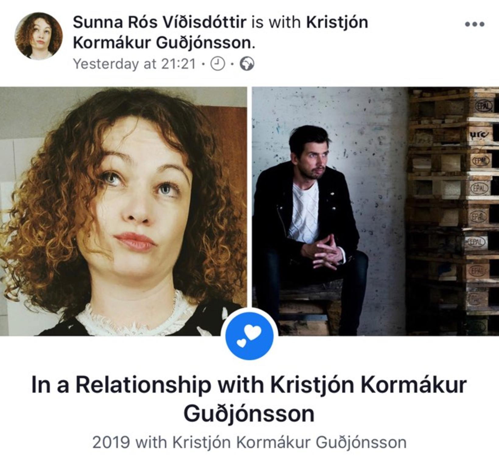 Sunna Rós Víðisdóttir og Kristjón Kormákur Guðjónsson skráðu sig í …