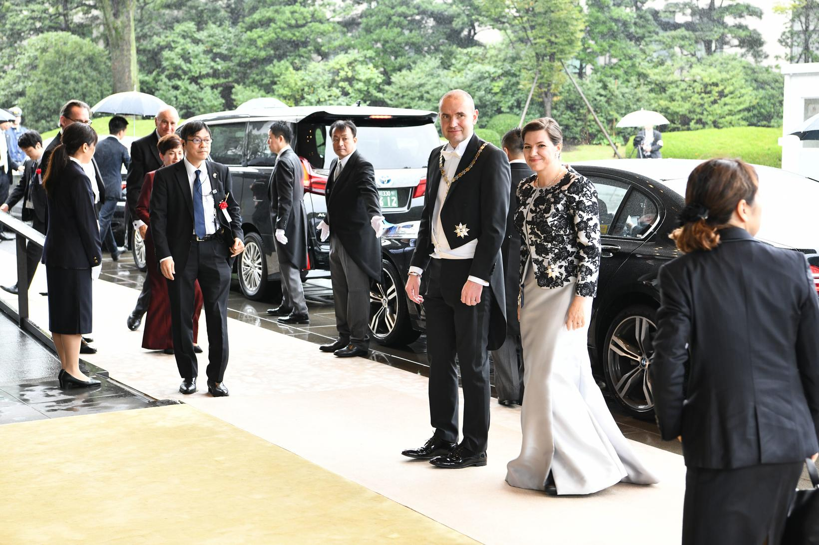The presidential couple on their way to a dinner, hosted ...