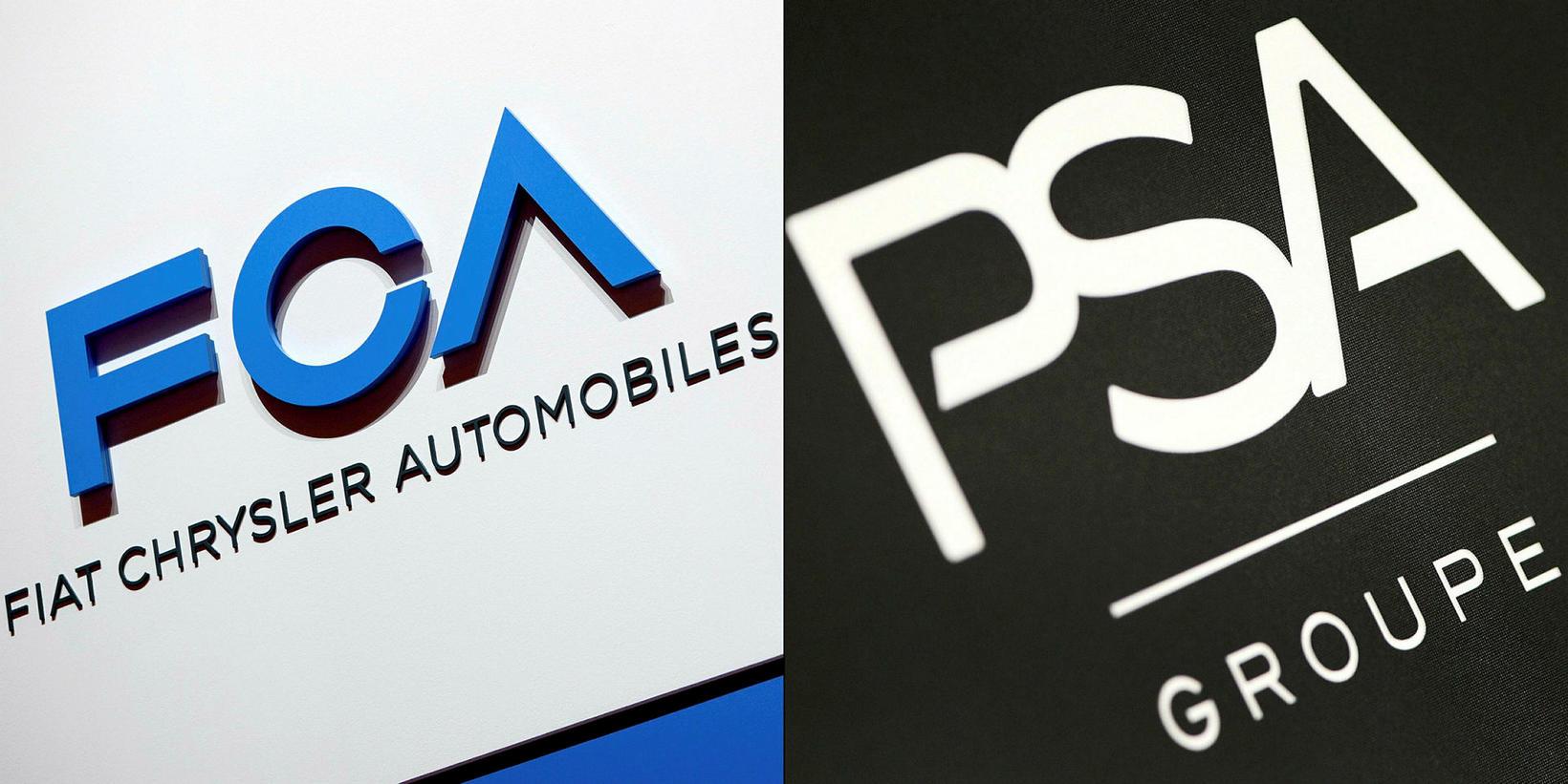 Táknmerki FCA (Fiat Chrysler Automobiles) og franska bílsmiðsins PSA Peugeot ...